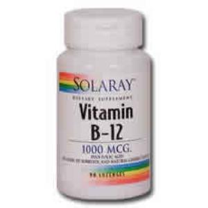 VIT. B12 + ACIDO FOLICO 1000mcg. 90comp sublingual de SOLARAY